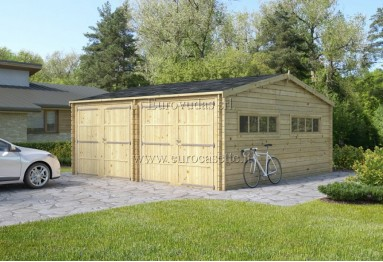 Double C-Garage in legno 36m² (6x6m), 44mm