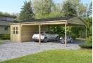 Double C-Garage in legno + Carport XXL 48m² (8x6m), 44mm