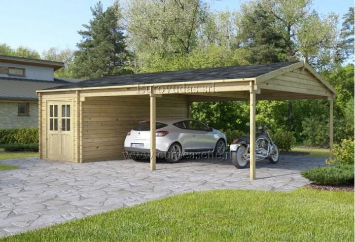 Garage in legno garage carport xxl posto auto for Carport 2 posti