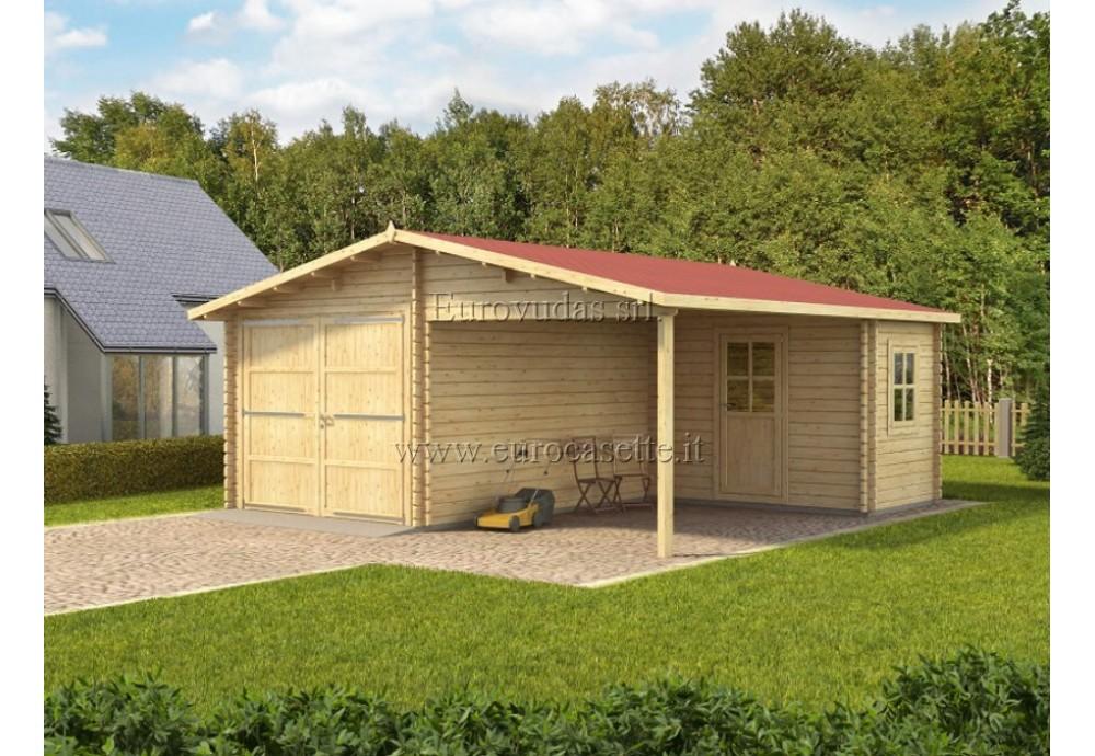 Garage in legno Plus 6x6m con officina 44mm