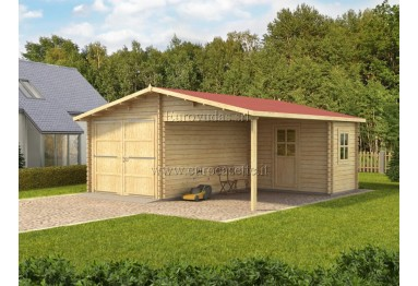Garage in legno Plus 6x6m con officina 44mm