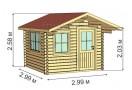 Casetta in legno Porto 9m² (3x3m), 34mm